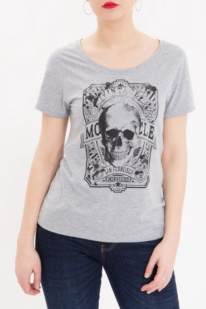 Queen Kerosin Damen Shirt, Skull – CrimeCulture Online Shop- grau