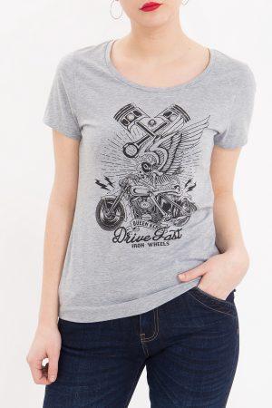 Queen Kerosin Damen Shirt, Drive Fast – CrimeCulture Online Shop- grau