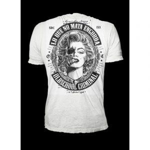"""Oldschool Criminal – """"Des Madre – Girlie Shirt – weiß – Crime Culture Online Shop"""